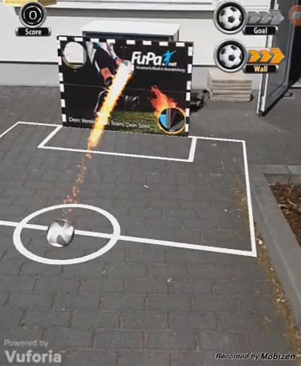 Augmented Reality Soccer App Screenshot