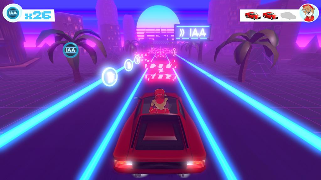 IAA Motor Show Frankfurt Synthwave Game Screenshot